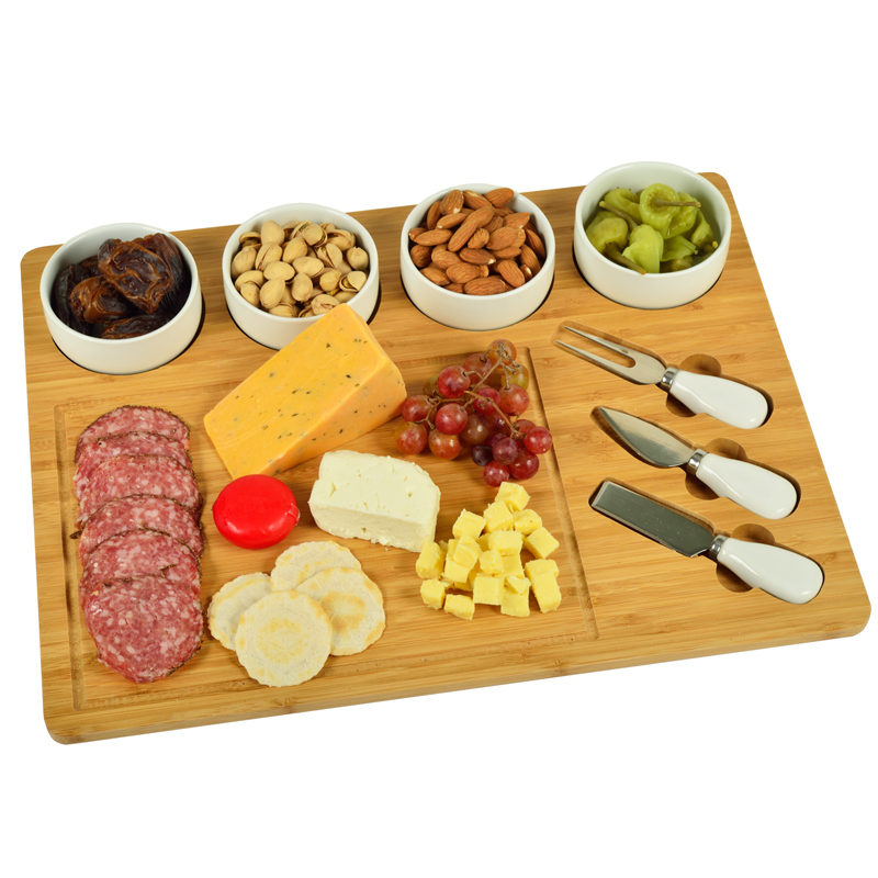 8 Piece Large Bamboo Cheese Board Set